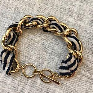Nautical gold and navy/white toggle bracelet